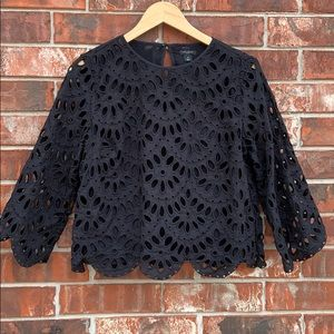 Ann Taylor Black Lace Overlay Bell 3/4 Sleeve Top
